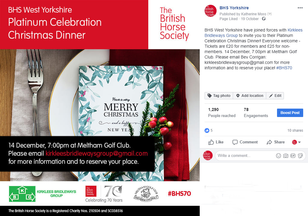 BHS West Yorkshire Christmas Dinner SMPost